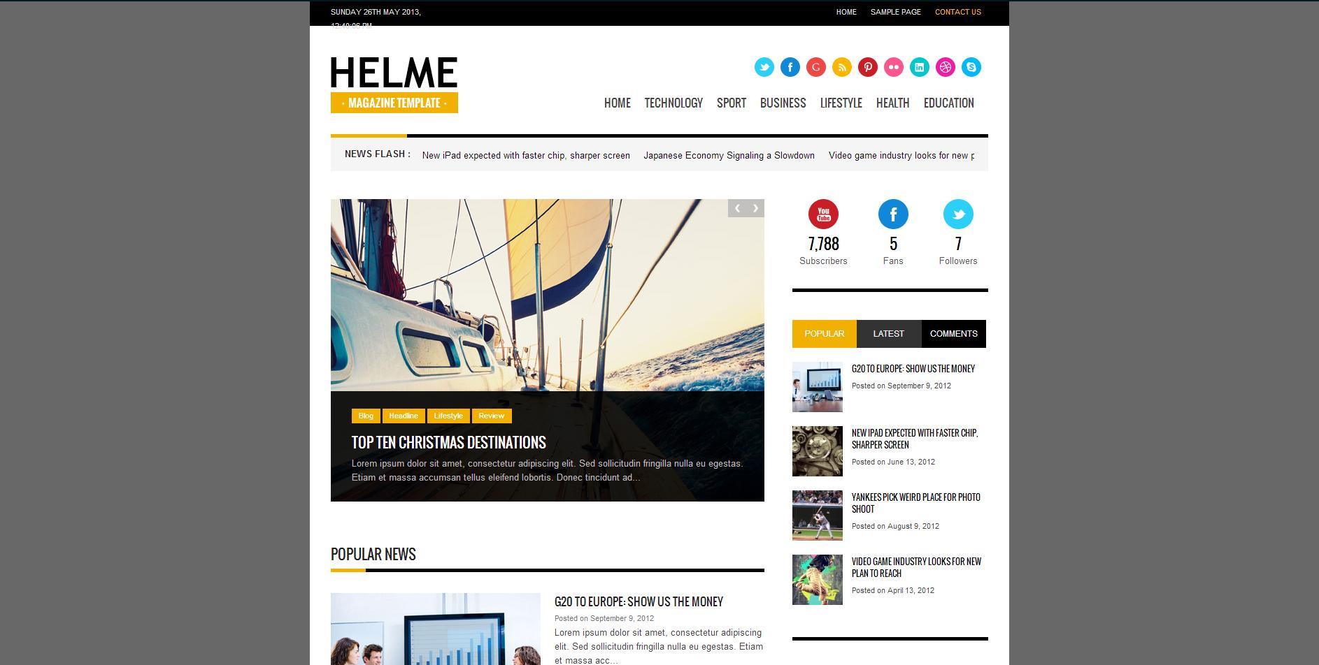 Helme magazine theme